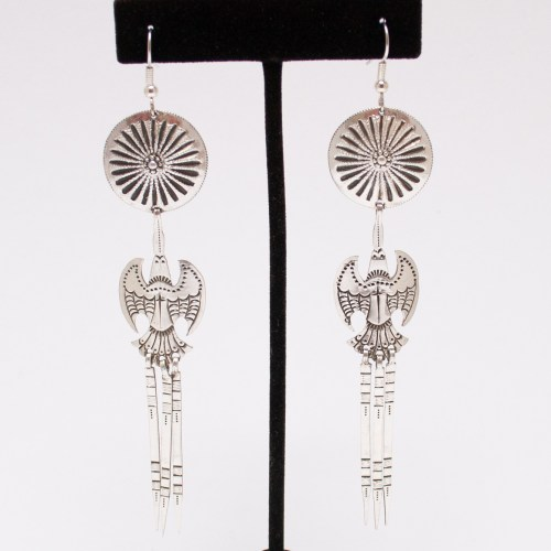 Silver Peyote Bird Earrings
