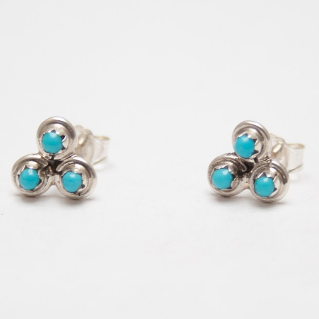 Small Turquoise Trio Studs