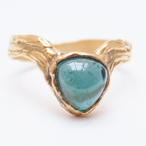 Gold Blue Tourmaline Ring