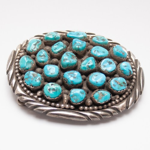 1960's Vintage Esther Spencer Turquoise Belt Buckle