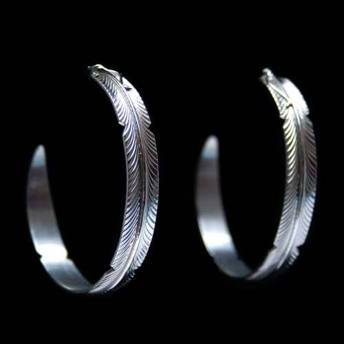 Large Silver Feather Hoops