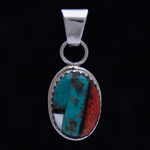 Small Zuni Inlay Oval Pendant