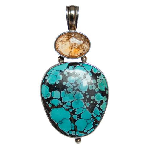 Pendentif Argent Turquoise Citrine