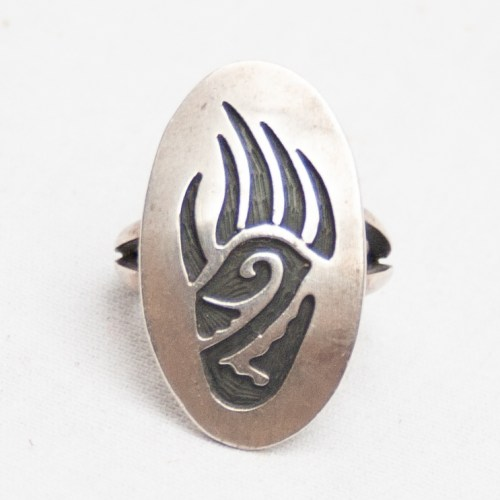 Silver Bear Paw Ring
