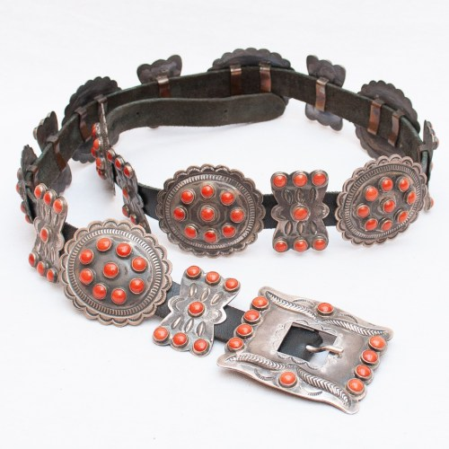 Vintage Kirk Smith Navajo Coral Belt