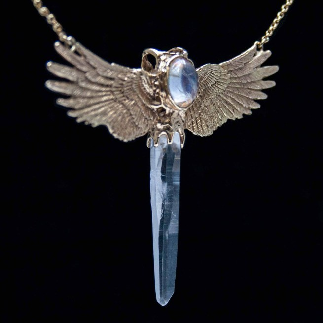 Collier Or 18K Quartz Pierre de Lune