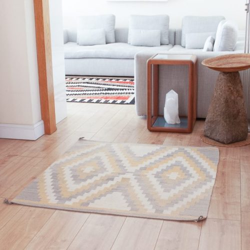 1950's Navajo Grey Yellow Square Rug