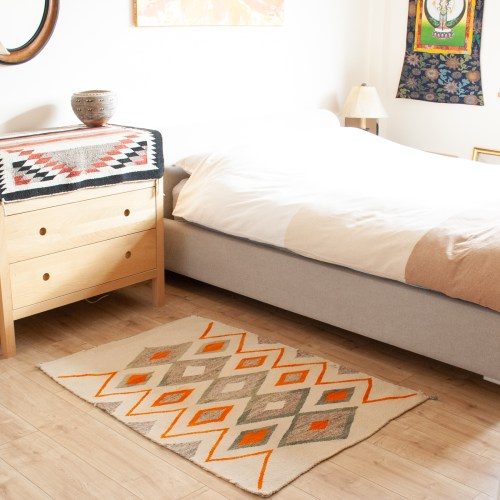 White Green Orange Rug