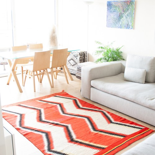 1910 Navajo Orange White Area Rug