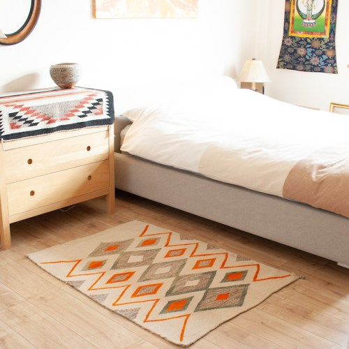 1915 White Green Orange Traditional Navajo Rug