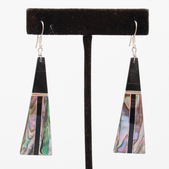 Abalone Jet Drop Earrings
