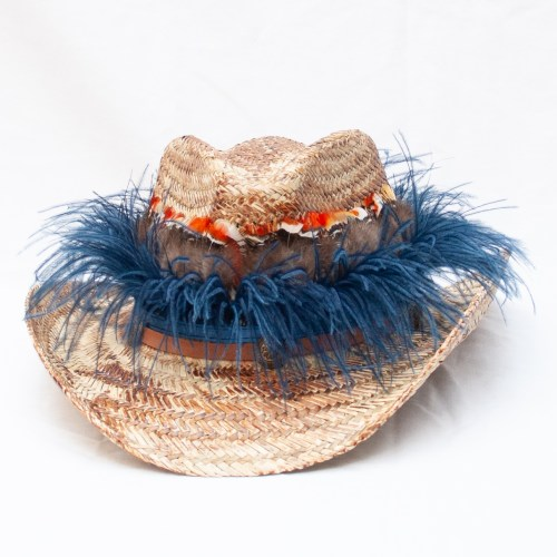 Blue Feather Festival Hat