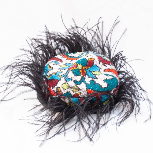 Feather Embroidered Skull Cap