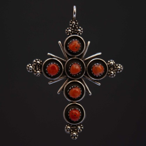Terry Dishta Red Coral Silver Cross Pendant
