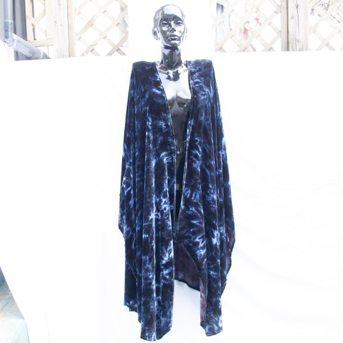 Midnight Blue Tie-Dye Shawl