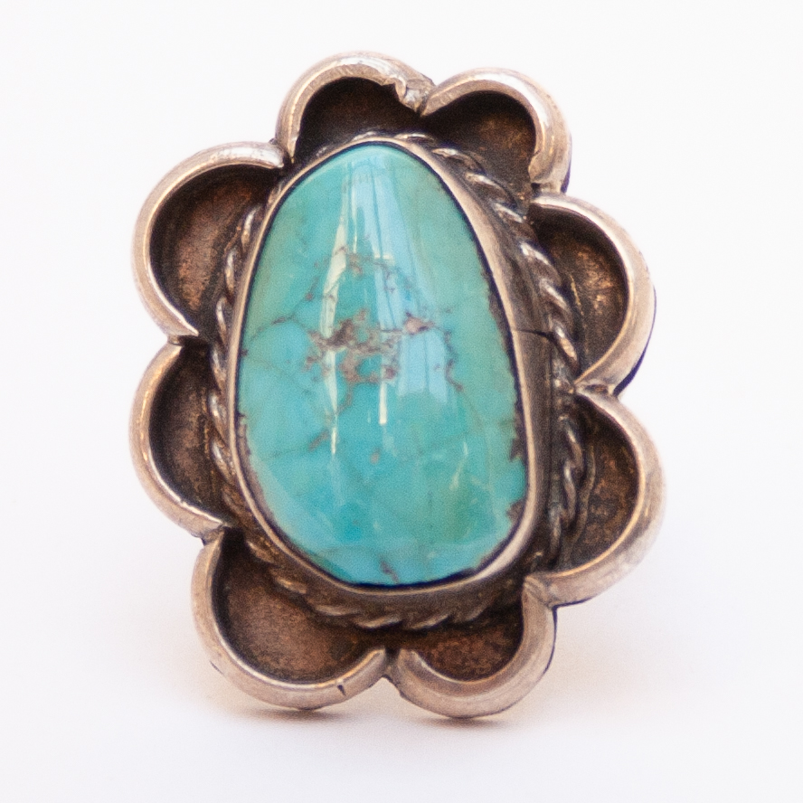 Outlined 1980/'s Webbed Hubei Turquoise Navajo Ring