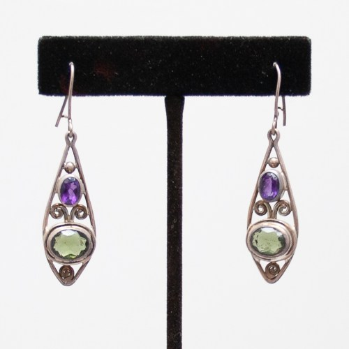 Moldavite Amethyst Earrings