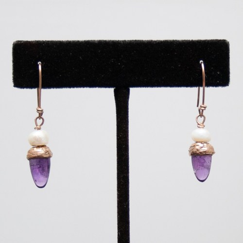 Gold Amethyst Pearl Earrings