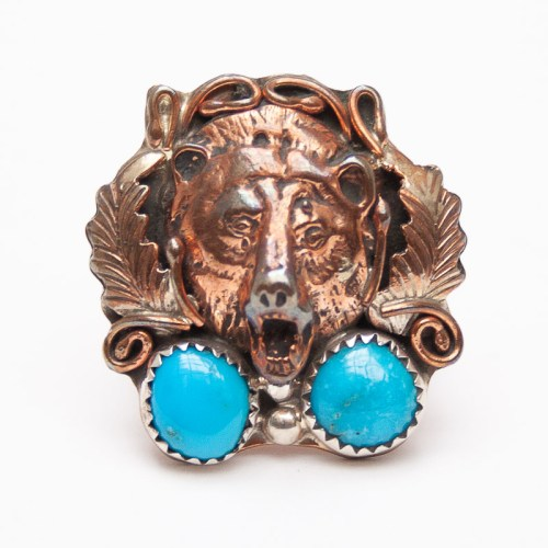 Bague Ours Cuivre Turquoise