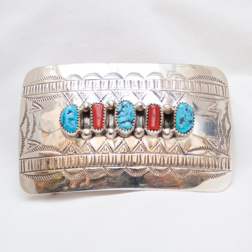 Turquoise Coral Silver Buckle