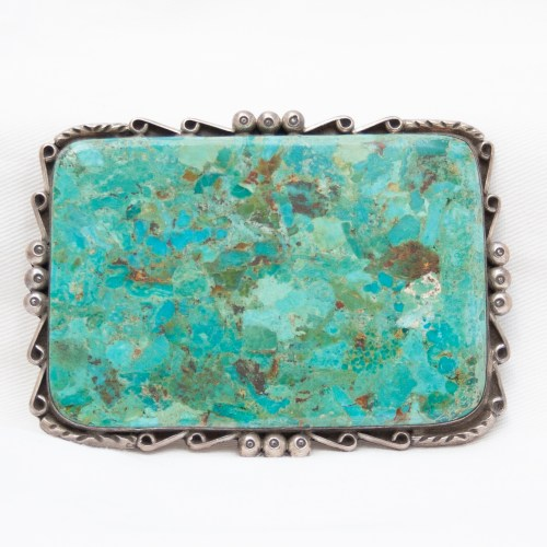 Kee C Cook Large Turquoise Slab Belt Buckle