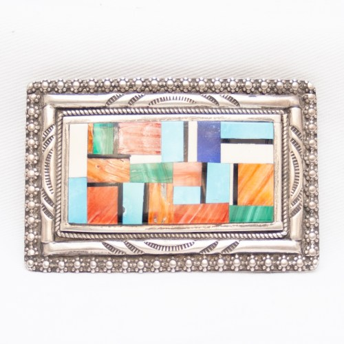 Multicolour Inlay Zuni Silver Belt Buckle
