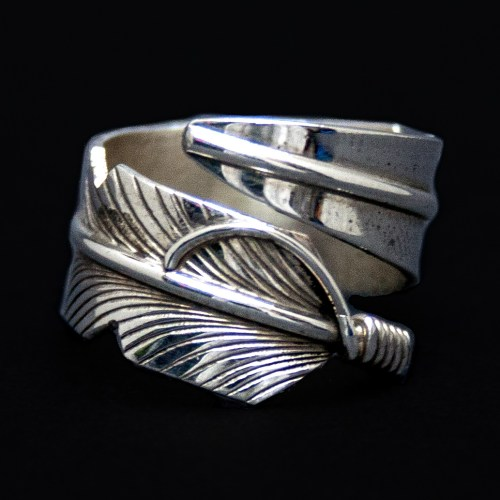Chris Charley Silver Feather Ring
