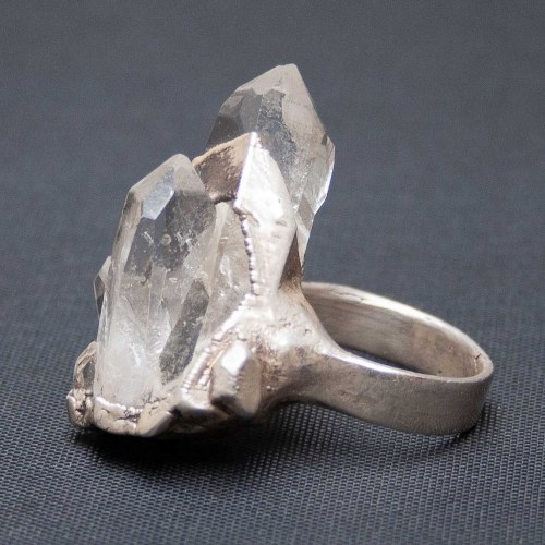 Large Quartz Crystal Ring