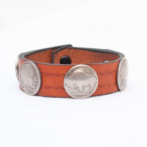 Brown Leather Coin Bracelet