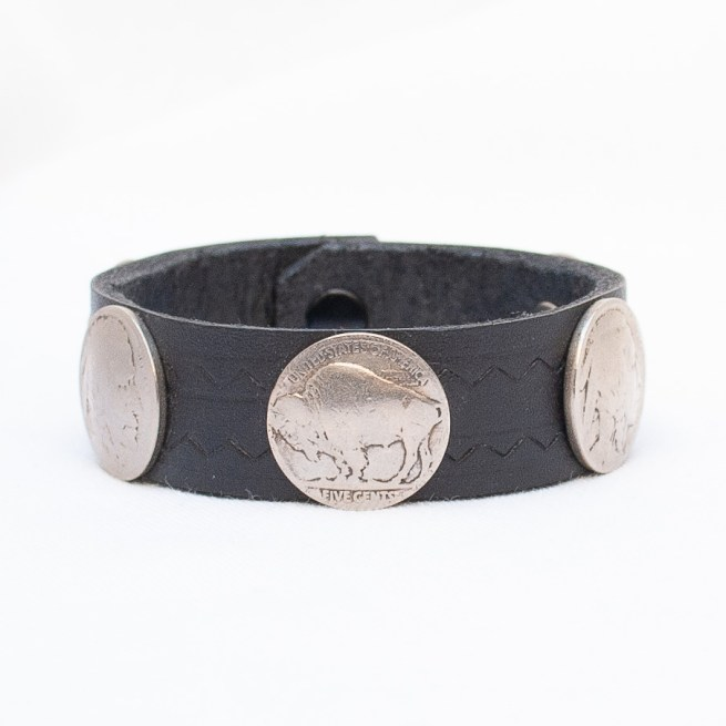 Black Leather Coin Bracelet