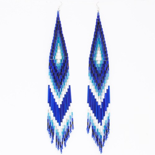 Blue Beaded Shoulder Dusters