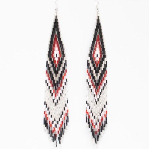 Black White Beaded Earrings