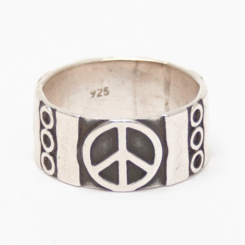 Peace Symbol Silver Ring