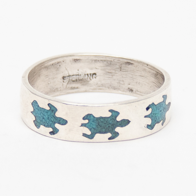Turquoise Chip Turtle Ring