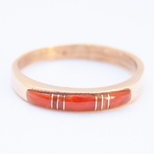 14K Gold Native American Zuni Red Coral Ring