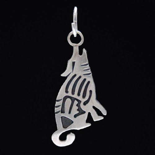Small Silver Coyote Pendant