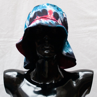 Blue Red Tie-Dye Hat Large