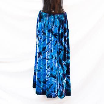 Blue Tie-Dye Velvet Skirt M