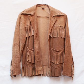 Vintage Brown Deer Skin Fringed Jacket