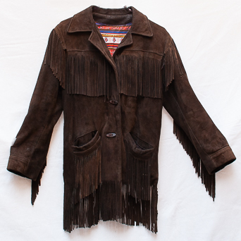 Dark Brown Vintage Fringed Jacket