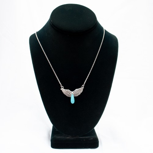 Turquoise Teardrop Silver Angel Necklace With Chain