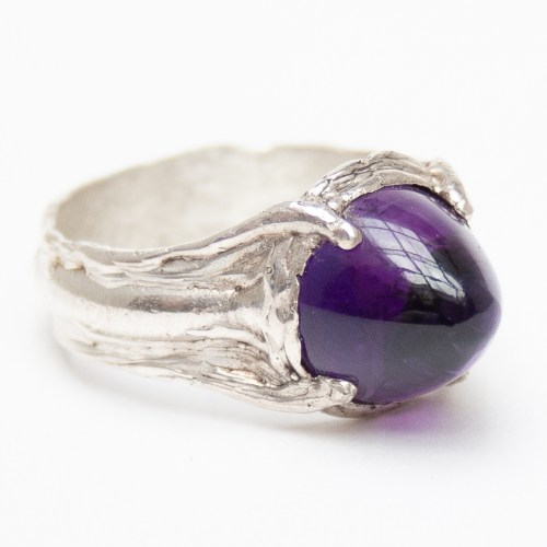 Pointed Amethyst Sterling Silver Ring