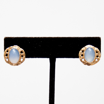 18K Gold Blue Chalcedony Earrings