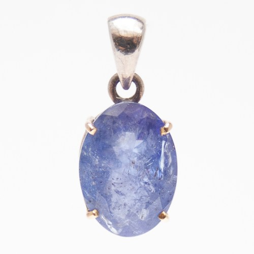 9K Gold Silver Faceted Tanzanite Pendant