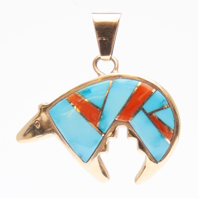 14K Gold Turquoise Coral Bear Pendant by Calvin Begay