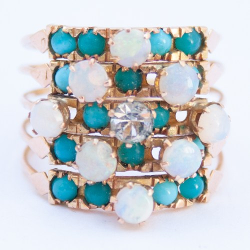 18K Gold 1960's Vintage Blue White Harem Ring