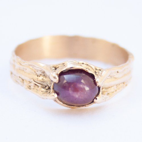 18K Gold Star Ruby Ring