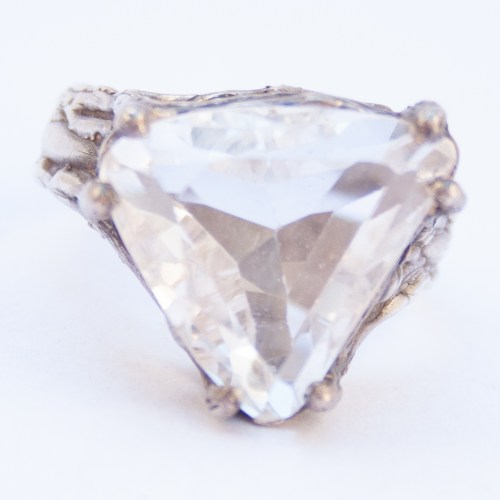 Triangular Faceted Quartz Silver Ring