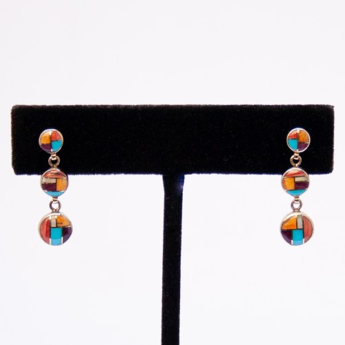 Gold Zuni Inlay Earrings