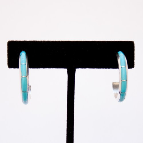Zuni Medium Smooth Turquoise Hoop Earrings